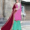 Pink Color Stylish Gota Patti Pattern Sharara Salwar Suit with Heavy Work