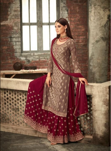 adorable-peanut-red-color-party-wear-georgette-sharara-suit