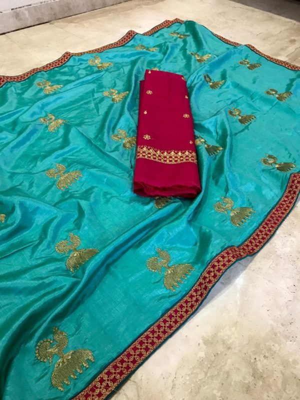 gorgeous-sea-green-color-two-tone-sana-silk-embroidered-saree