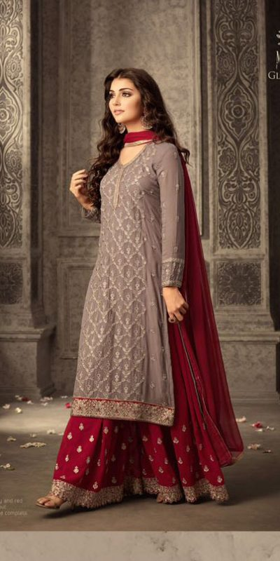 grey-red-faux-georgette-embroidery-stone-work-sharara-suit