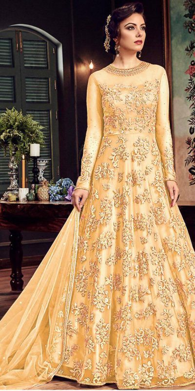 impeccable-cream-color-heavy-net-with-embroidery-stone-work-suit
