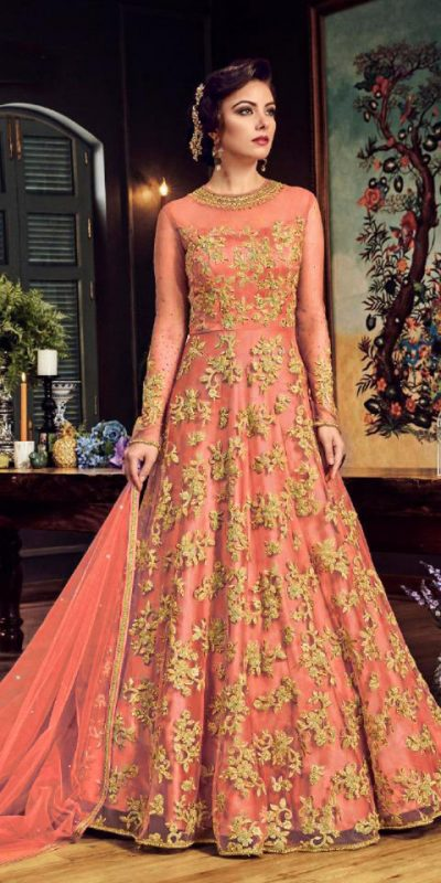 impeccable-orange-color-heavy-net-with-embroidery-stone-work-suit