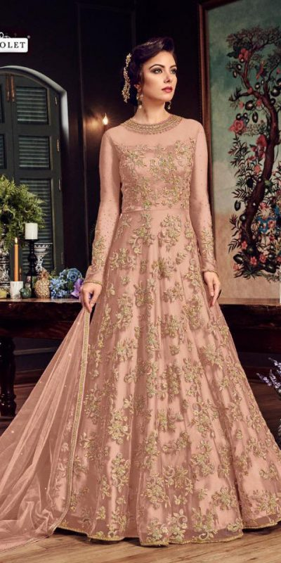 impeccable-peach-color-heavy-net-with-embroidery-stone-work-suit