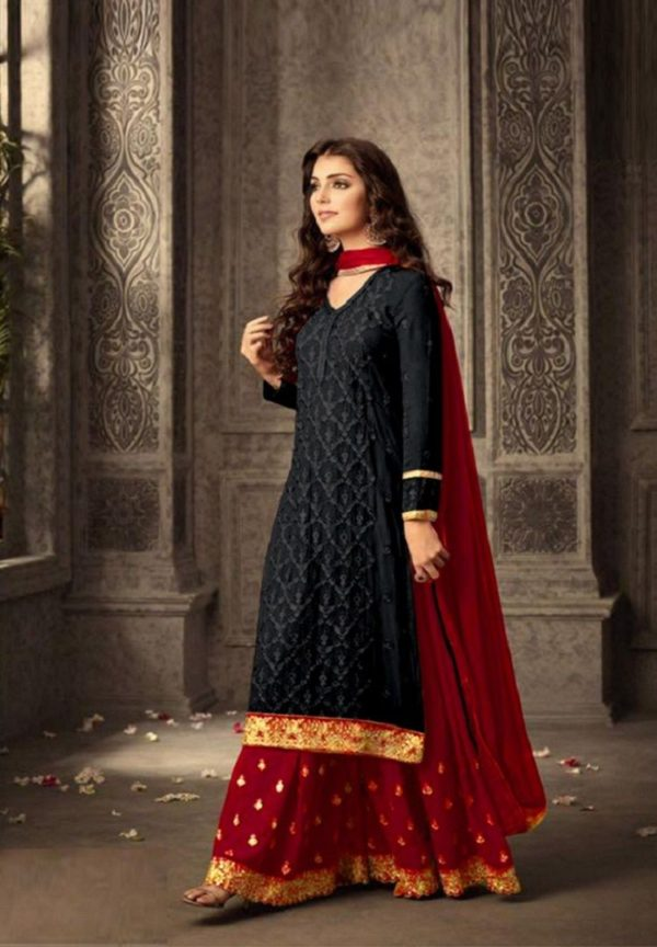 mesmerizing-black-red-faux-georgette-embroidery-stone-work-sharara-suit