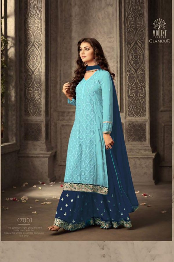 mesmerizing-blue-faux-georgette-embroidery-stone-work-sharara-suit