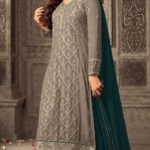 mesmerizing-peacock-blue-faux-georgette-embroidery-stone-work-sharara-suit