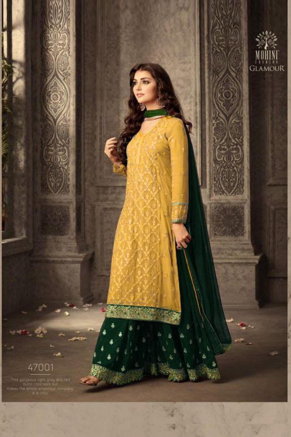 yellow-green-faux-georgette-embroidery-stone-work-sharara-suit