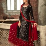 adorable-black-red-color-party-wear-georgette-sharara-suit