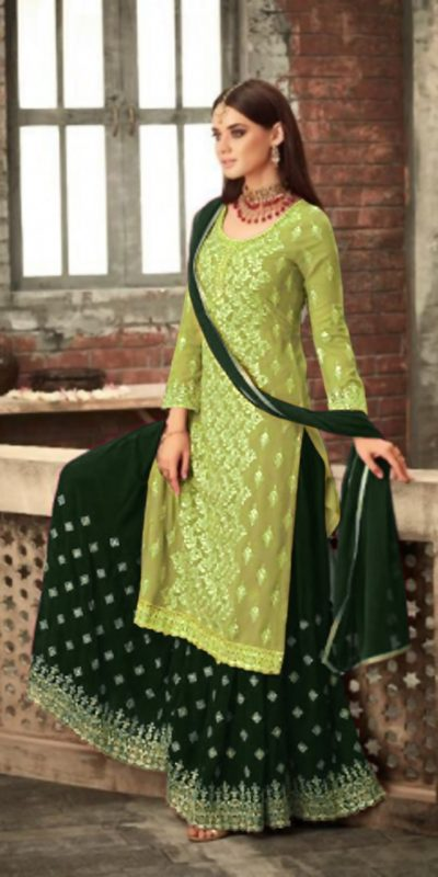 adorable-light-green-green-color-party-wear-georgette-sharara-suit