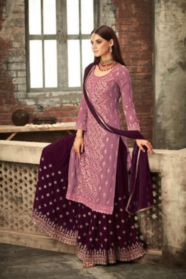 adorable-pink-wine-color-party-wear-georgette-sharara-suit