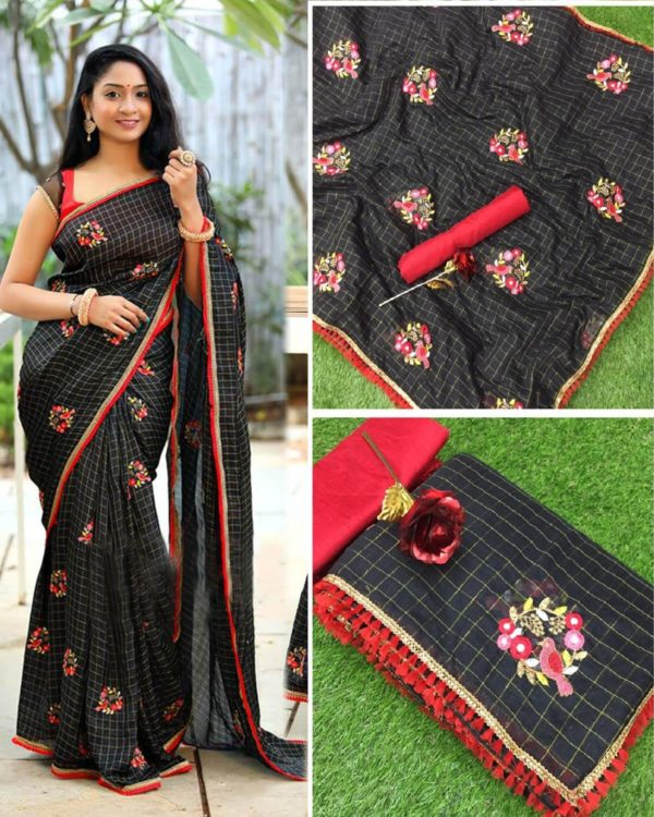 black-color-jacquard-cotton-chex-embroidered-with-lace-work-saree