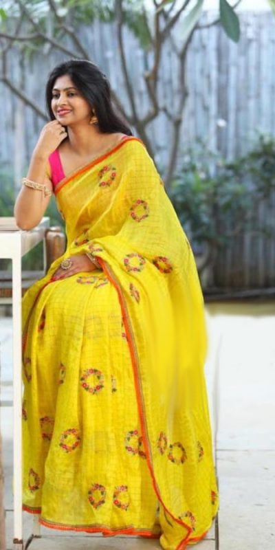 glamorous-yellow-color-chex-modal-silk-festival-wear-embroidered-saree