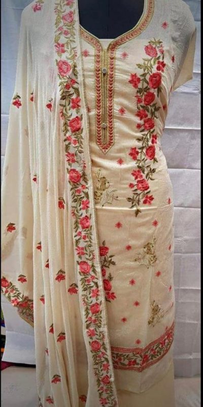 mesmerizing-off-white-colored-embroidered-chanderi-silk-dress-material
