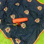 navy-blue-color-jacquard-cotton-chex-embroidered-with-lace-work-saree