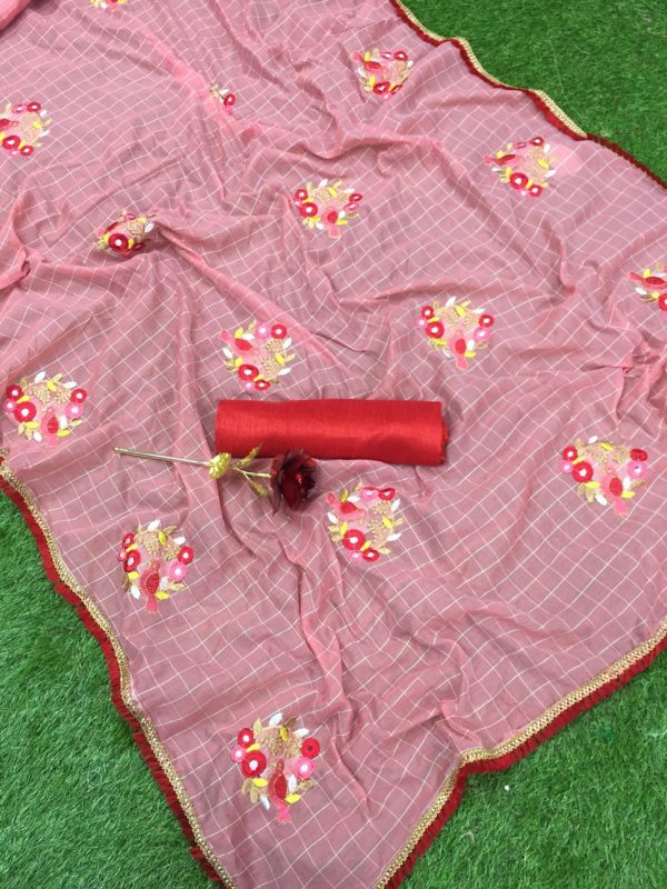 pink-color-jacquard-cotton-chex-embroidered-with-lace-work-saree