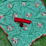 sea-green-color-jacquard-cotton-chex-embroidered-with-lace-work-saree