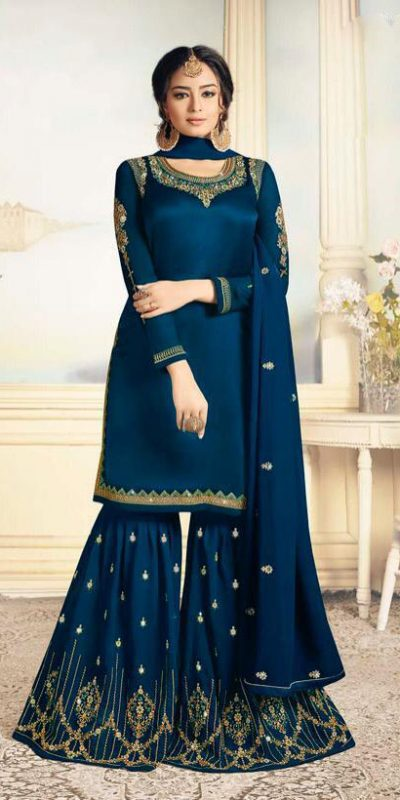charismatic-blue-color-satin-georgette-with-embroidered-work-plazo-suit