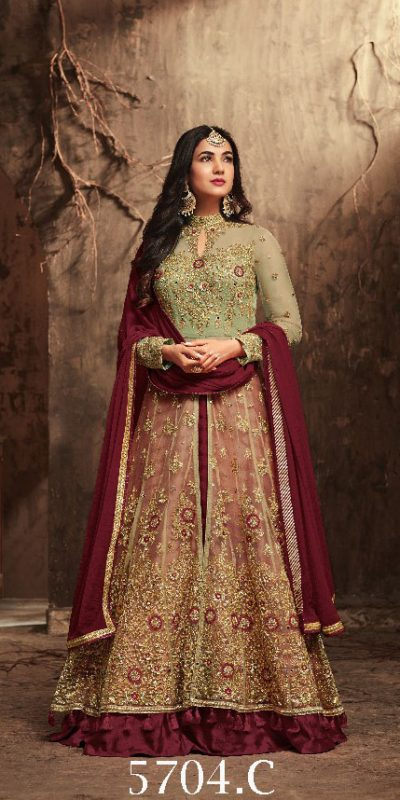 thrilling-maroon-color-heavy-net-with-embroiderystone-work-suit