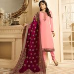 Attractive Pink Color Satin With Embroidery And Stone Work Salwar Suit