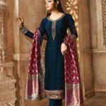 blooming-blue-color-heavy-georgette-salwar-suit-with-banaras-dupatta