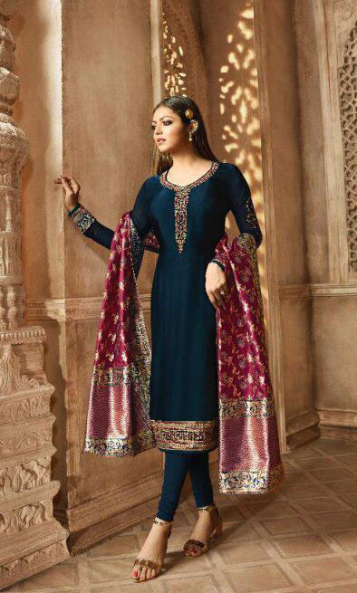 blooming-blue-color-heavy-georgette-salwar-suit-with-banaras-dupatta