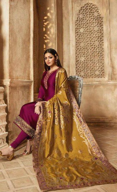blooming-maroon-color-heavy-georgette-salwar-suit-with-banaras-dupatta