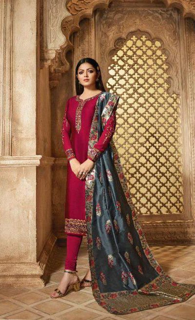 blooming-red-color-heavy-georgette-salwar-suit-with-banaras-dupatta