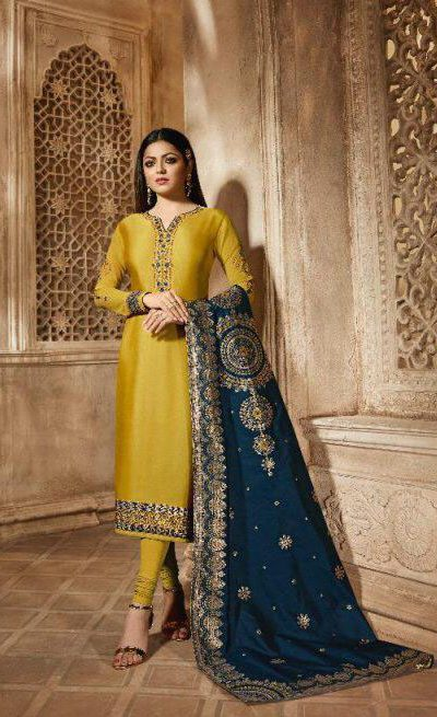 blooming-yellow-color-heavy-georgette-salwar-suit-with-banaras-dupatta