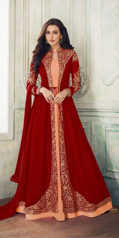 decorative-red-color-georgette-with-cording-work-koti-long-length-suit