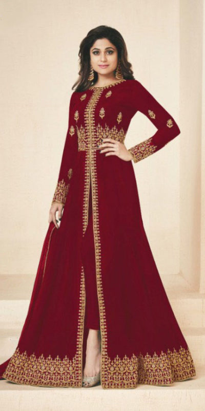gracious-red-color-heavy-georgette-embroidery-work-long-length-suit