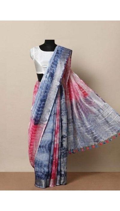 appealing-pink-and-blue-color-linen-designer-digital-print-saree