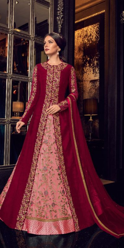 maroon-color-heavy-net-with-embroidery-work-anarkali-suit-with-designer-koti