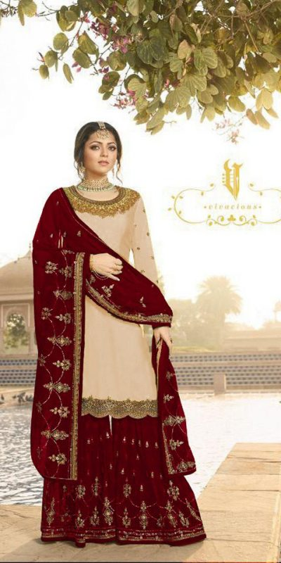pleasing-cream color-satin-georgette-multi-diamond-work-plazo-suit