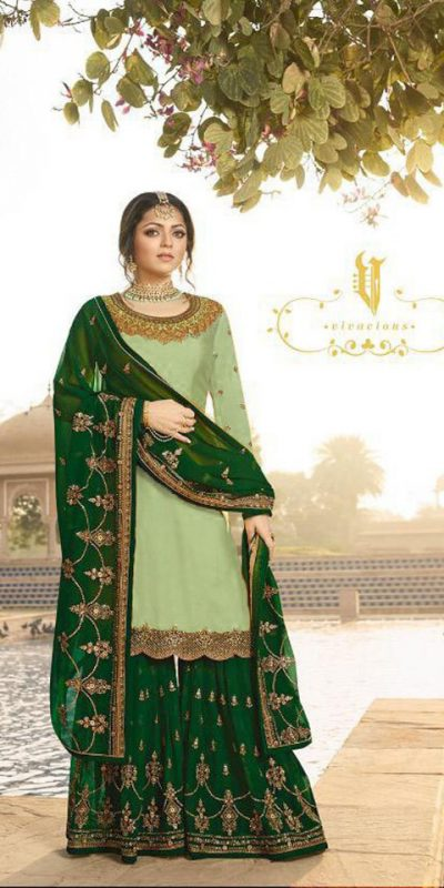 pleasing-olive-green-color-satin-georgette-multi-diamond-work-plazo-suit