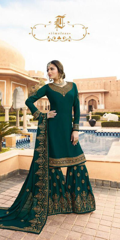 pleasing-peacock-blue-color-satin-georgette-multi-diamond-work-plazo-suit