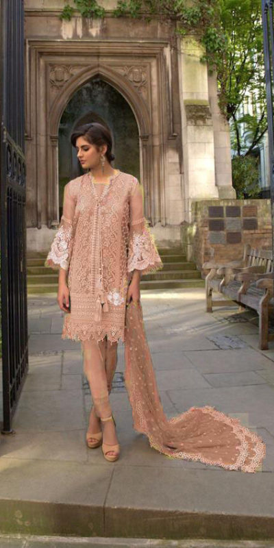 vibrant-Peach -color-heavy-net-embroidered-stone-work-plazo-suit