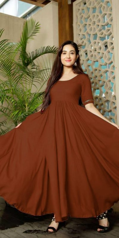 Classic Floral Brown Color American Creep Silk Gown