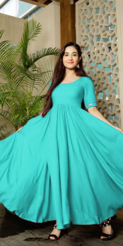 Classic Floral Sky Blue Color American Creep Silk Gown