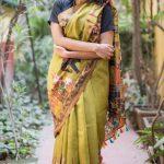 Heavenly Multi Color Linen Designer Digital Print Saree 3