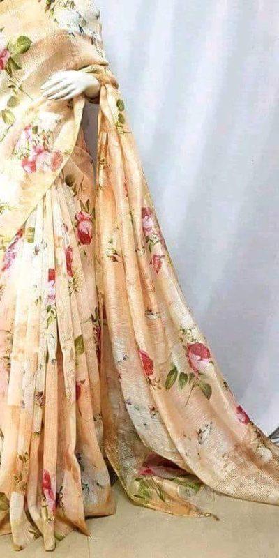 Stunning Multi Color Linen Designer Digital Print Saree 2