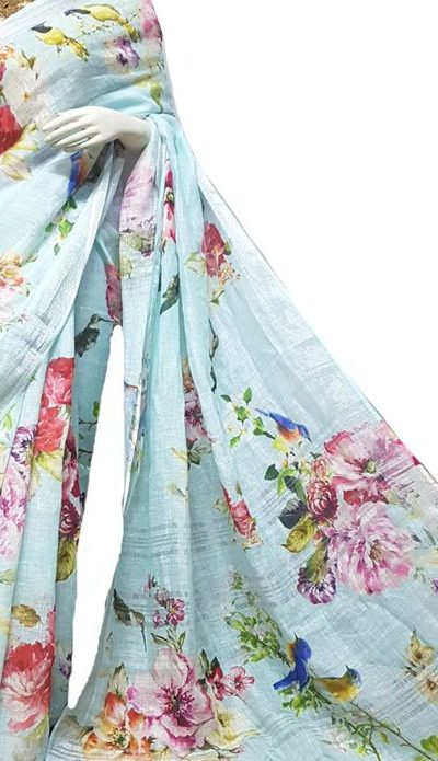 Vibrant Multi Color Linen Designer Digital Print Saree 2