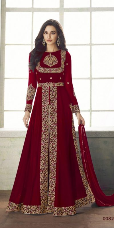 ceremonial-red-color-heavy-georgette-embroidery-work-long-length-suit