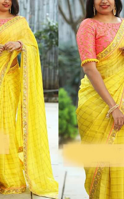 cotton-chex-with-heavy-coding-sequence-work-yellow-color-fancy-saree