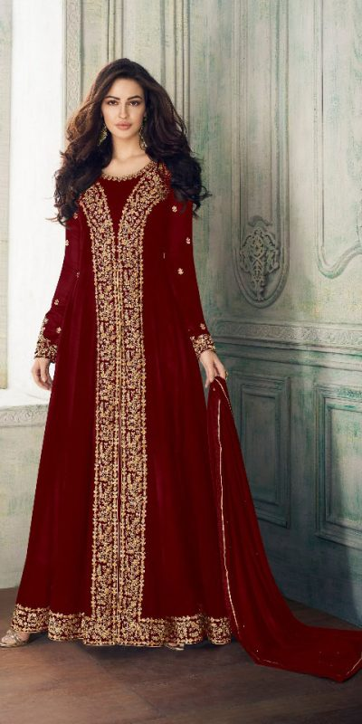 dashing-red-color-heavy-georgette-embroidery-work-long-length-suit