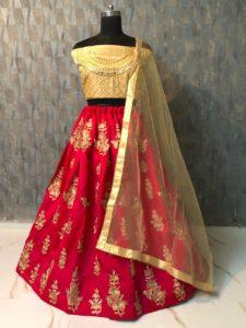 mesmerizing-red-color-taffeta-silk-zari-embroidered-work-lehenga