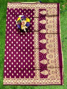 wine-banarasi-silk-weaving-jacquard-saree-with-heavy-rich-zari-pallu