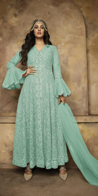 attentive-teal-blue-color-heavy-net-rangoli-satin-full-sequence-work-anarkali-suit