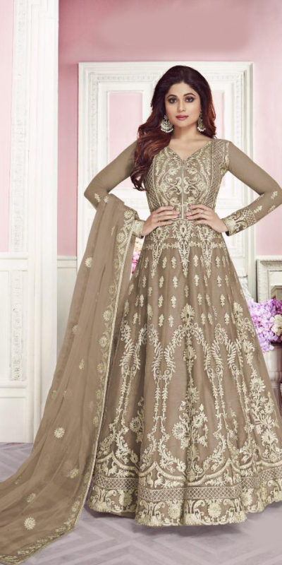 harmonious-cream-color-heavy-net-with-chain-stitch-stone-work-anarkali-suit