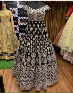inspirational-black-color-georgette-gown-dresses-online-shopping-in-india