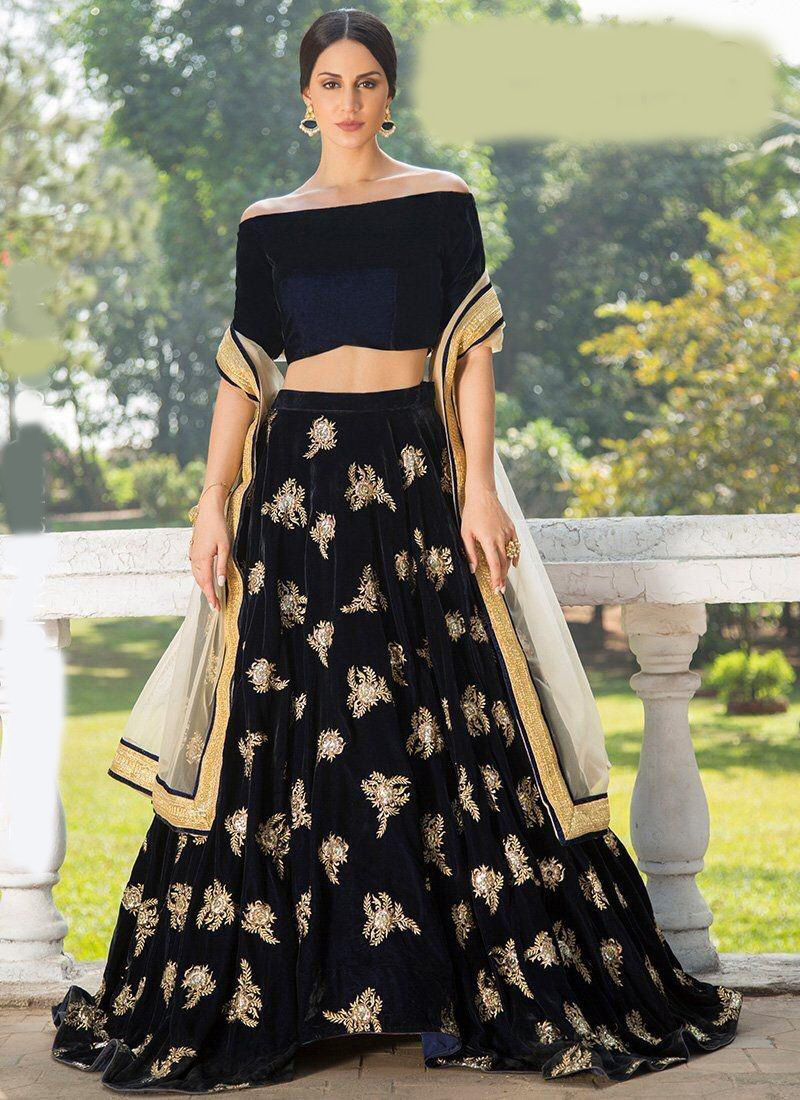Mesmerizing Black Color Original Micro Velvet Fabric Festival Wear Lehenga Choli